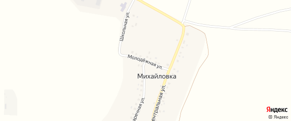 Молодежная улица на карте деревни Михайловки с номерами домов