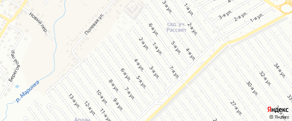 3-я улица на карте СНТ Арлана западной стороны с номерами домов