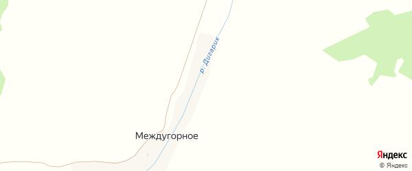 Центральная улица на карте деревни Междугорного с номерами домов