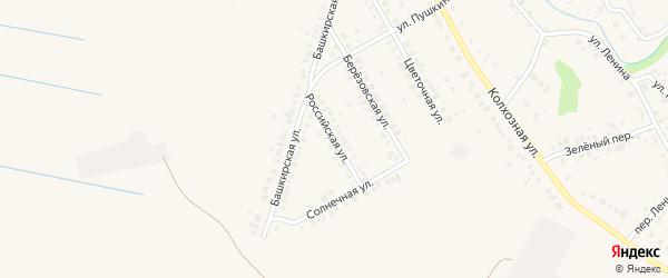 Российская улица на карте села Ташкиново с номерами домов
