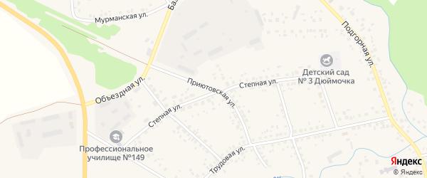 Приютовская улица на карте села Бижбуляка с номерами домов