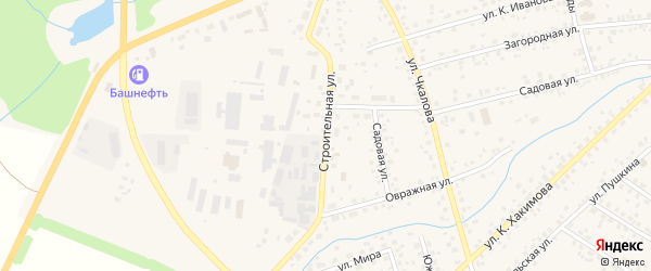 Строительная улица на карте села Бижбуляка с номерами домов