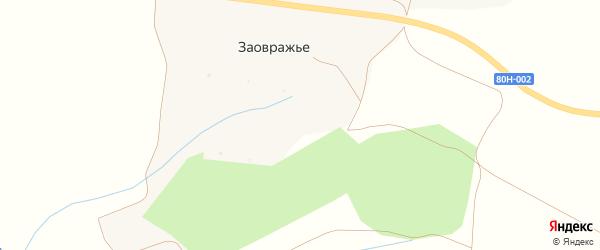 Лесная улица на карте деревни Заовражья с номерами домов