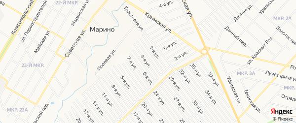 СНТ Рассвет на карте Нефтекамска с номерами домов