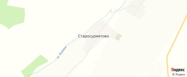 Карта села Старосурметово в Башкортостане с улицами и номерами домов