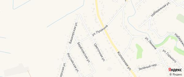 Цветочная улица на карте села Ташкиново с номерами домов