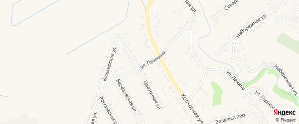 Улица Пушкина на карте села Ташкиново с номерами домов