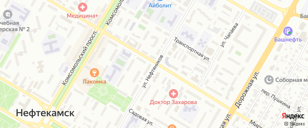 Улица Нефтяников на карте Нефтекамска с номерами домов