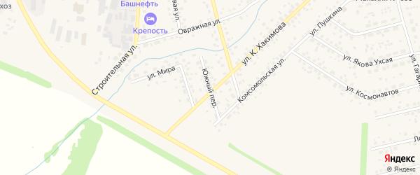 Южный переулок на карте села Бижбуляка с номерами домов