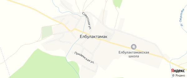 Карта села Елбулактамака в Башкортостане с улицами и номерами домов