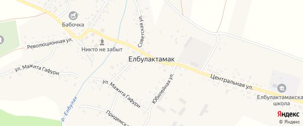 Улица Мажита Гафури на карте села Елбулактамака с номерами домов