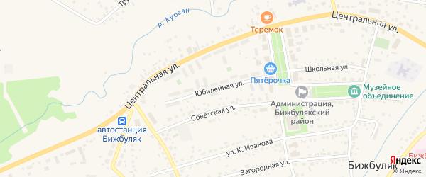Юбилейная улица на карте села Бижбуляка с номерами домов