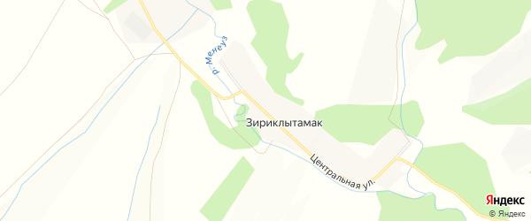 Карта деревни Зириклытамака в Башкортостане с улицами и номерами домов