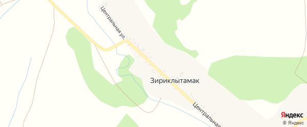 Центральная улица на карте деревни Зириклытамака с номерами домов