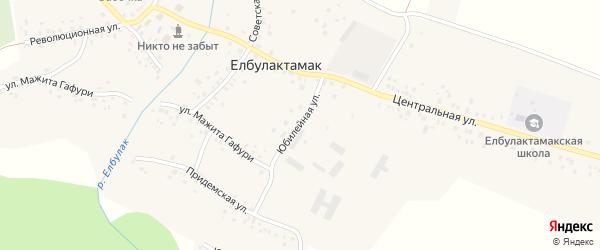 Юбилейная улица на карте села Елбулактамака с номерами домов