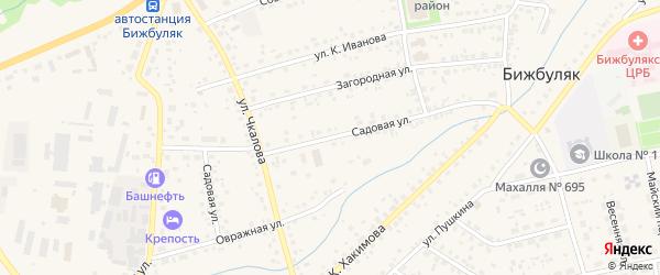 Садовая улица на карте села Бижбуляка с номерами домов