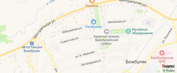 Советская улица на карте села Бижбуляка с номерами домов