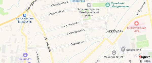 Загородная улица на карте села Бижбуляка с номерами домов