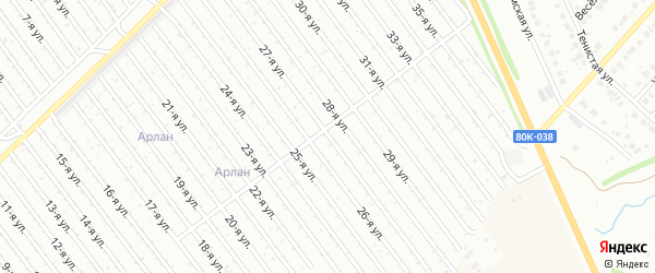 27-я улица на карте СНТ Арлана восточной стороны с номерами домов