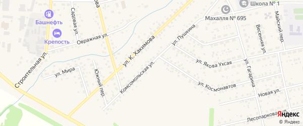 Комсомольская улица на карте села Бижбуляка с номерами домов