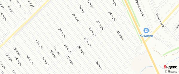 28-я улица на карте СНТ Восхода НГДУ с номерами домов