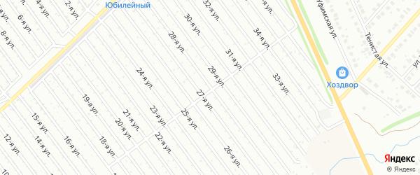 28-я улица на карте СНТ Арлана восточной стороны с номерами домов