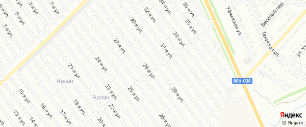 29-я улица на карте СНТ Восхода НГДУ с номерами домов