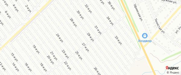 29-я улица на карте СНТ Арлана восточной стороны с номерами домов