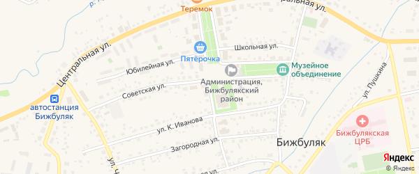 Улица Победы на карте села Бижбуляка с номерами домов