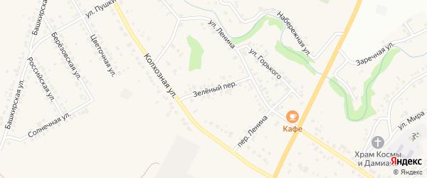 Зеленый переулок на карте села Ташкиново с номерами домов