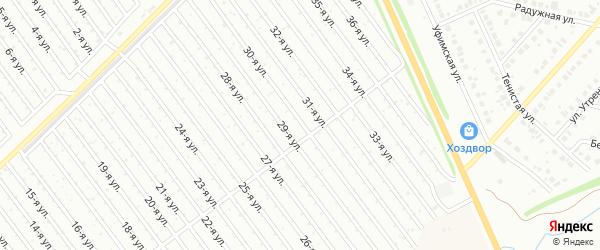 30-я улица на карте СНТ Восхода НГДУ с номерами домов