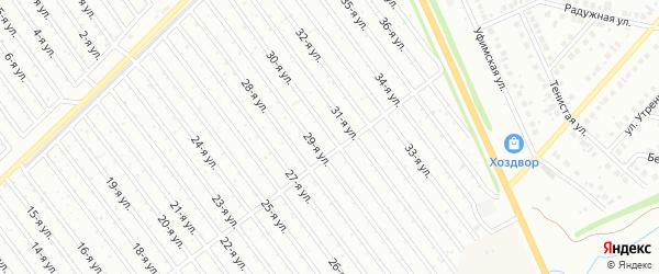30-я улица на карте СНТ Арлана восточной стороны с номерами домов