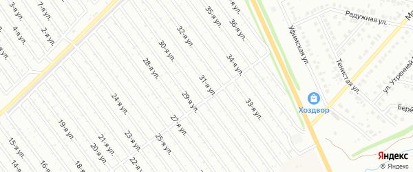 31-я улица на карте СНТ Арлана восточной стороны с номерами домов