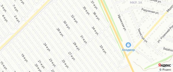32-я улица на карте СНТ Арлана восточной стороны с номерами домов
