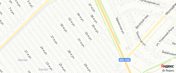 33-я улица на карте СНТ Арлана восточной стороны с номерами домов