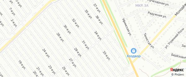 33-я улица на карте СНТ Восхода НГДУ с номерами домов