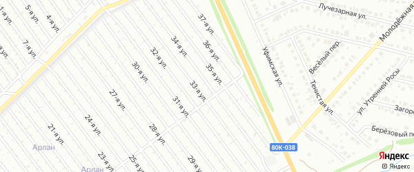 34-я улица на карте СНТ Восхода НГДУ с номерами домов