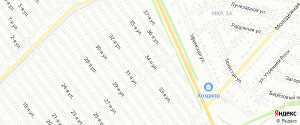 34-я улица на карте СНТ Арлана восточной стороны с номерами домов