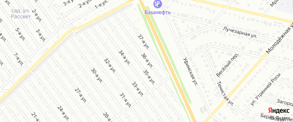 36-я улица на карте СНТ Арлана восточной стороны с номерами домов