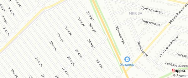 35-я улица на карте СНТ Арлана восточной стороны с номерами домов
