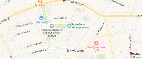 Шоссейная улица на карте села Бижбуляка с номерами домов