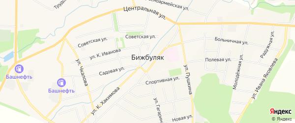 Карта села Бижбуляка в Башкортостане с улицами и номерами домов