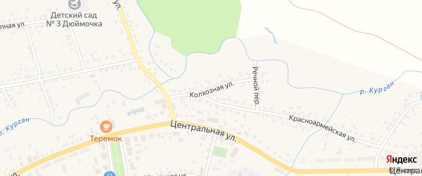 Колхозная улица на карте села Бижбуляка с номерами домов