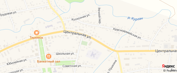 Центральная улица на карте деревни Алексеевки с номерами домов