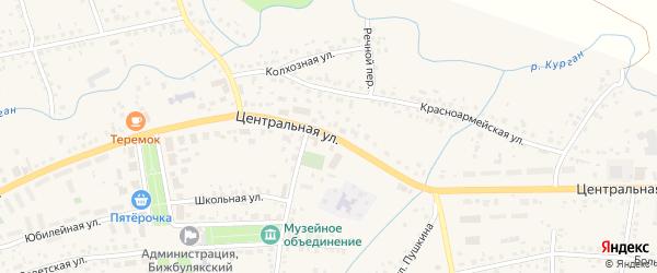 Центральная улица на карте села Бижбуляка с номерами домов