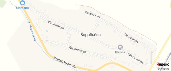 Школьная улица на карте деревни Воробьево с номерами домов