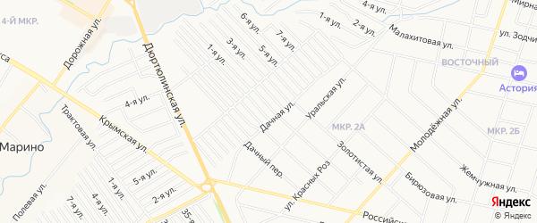 Карта поселка Южного Парка города Уфы в Башкортостане с улицами и номерами домов