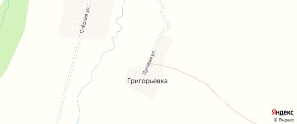 Луговая улица на карте деревни Григорьевки с номерами домов