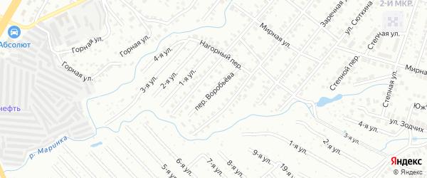 Переулок Воробьева на карте Нефтекамска с номерами домов