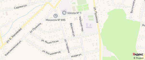 Весенняя улица на карте села Бижбуляка с номерами домов